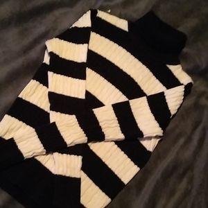 Black and white striped turtleneck